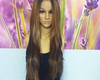 Ombré mixed brown with blond highlights lace  front wig.