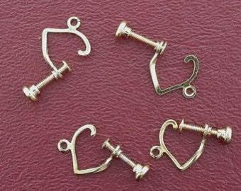 two pair goldplated heart screw on with loop earrings