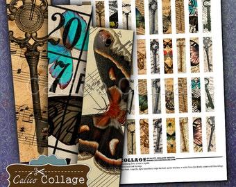 Butterflies & Keys  .5x2 Inch Size Images Digital Collage Sheet Printable Download for Pendants, Magnets, Vintage Paper Goods, Scrapbooking