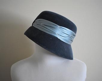 Mid Century Vintage Blue Velour Chevalier Hat