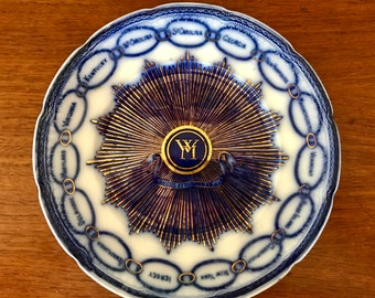 Antique Flow Blue Martha Washington Chain of States Plate White House