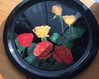Vintage round floral tray