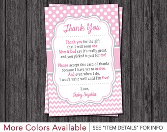 Baby Shower Thank You Cards | Girl Baby Sprinkle Thank You Cards | Baby Pink, Pink, and Gray