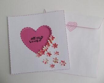 I love you - Anniversary - Handmade card - Scrapbook card - Love - Heart