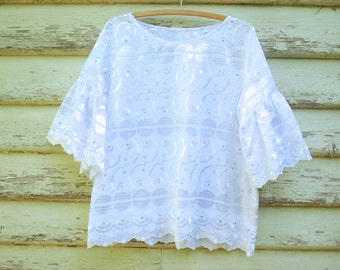 90s Vintage Lace Top Broderie Anglaise Semi Sheer Tee Embroidery Stitch Boho Hippie Flared Sleeves Shirt Vtg 1990s Size S-L