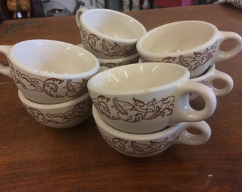 Set of 6 1940s Wallace China Brown Scroll Restaurantware Mugs