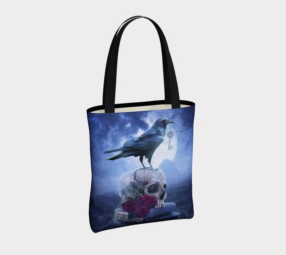 blue crow and skull tote bag
