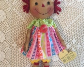 Rainbow Heart Annie/ primitive raggedy annie doll/ handmade soft cloth doll/ faap