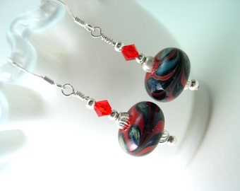 Lampwork Glass Earrings, Sterling Silver Earrings, Red lampwork earrings, Earrings with Swarovski crystals