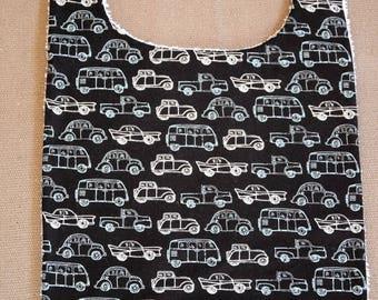 Bib made of cotton fabric and sponge pattern cars - handmade