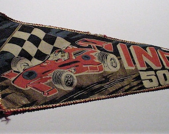 """1970's INDY 500 Japan Silk Pennant 26"""" Indianapolis Speedway Race Car Checkered Flag Banner - Shipping is Free"""