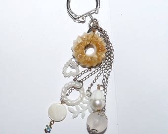 Key white bag charms beads for girls or women