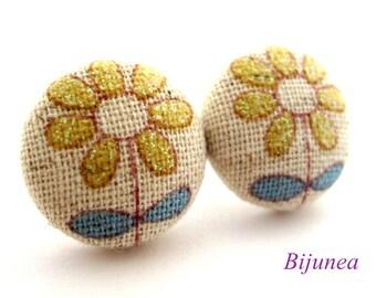 Flower earrings - Yellow flower stud earrings - Flower studs - Flower post earrings - Flower posts sf943