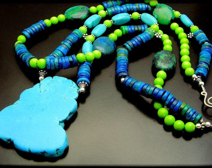 BLUEST SKY ~ Chunky Arizona Turquoise,Chrysocolla Silver  Necklace