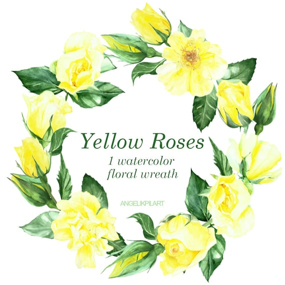 Yellow roses wreath hand painted watercolor clipart flowers mightylinksfo