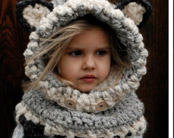 Crochet PATTERN-The Woodlynn Wolf Cowl (12/18 months, Toddler, Child, Adult sizes)
