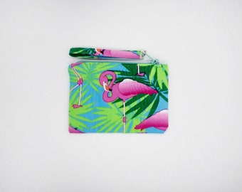 Pink Flamingo in leaves, tropical print coin purse