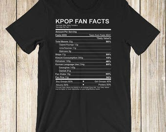 Kpop Fan Facts Nutrition Style: HIGH QUALITY Funny Short-Sleeve Unisex T-Shirt