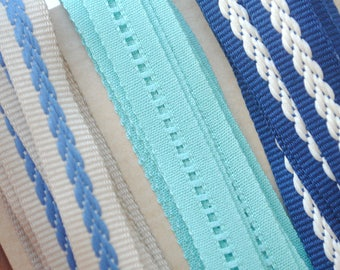 Quality 10mm blue fancy Ribbon choice coupons / green/beige