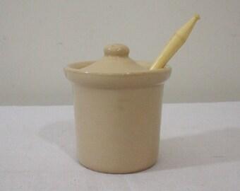Vintage Buffalo China Jam Pot with Spoon
