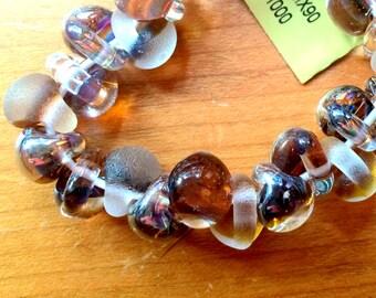 5 Handmade Teardrop Lampwork Glass Beads, mixed tumbled and luster Kayla (TMIX 92).