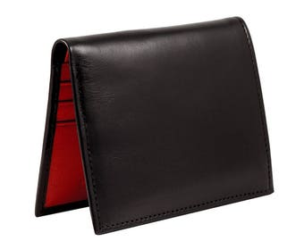 Leather mini wallet in black and red leather