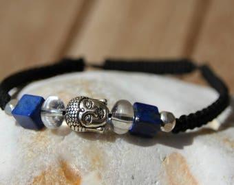Bracelet with lapis and quartz shamballa beads