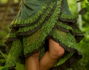 Gypsy Wrap Skirt (Green) - Festival Clothing Hand Made Crochet Layer Goa Hippie Doof Adjustable Bohemian Lace Layer Winter Skirt Boho
