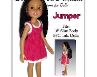 Knitting Pattern. Fits BFC, Ink  Doll. 18' slim doll, Jumper  PDF 751