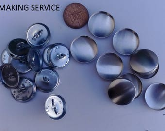 10 x no 36 wire loop upholstery buttons.BUTTON MAKING SERVICE.  made using your fabric.