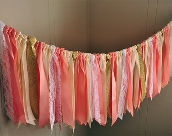 Bridal Brunch Decor. Handcrafted in 2-5 Business Days.  Fabric Garland. Ribbon Garland Backdrop in Coral, Ivory, Gold & White Lace.