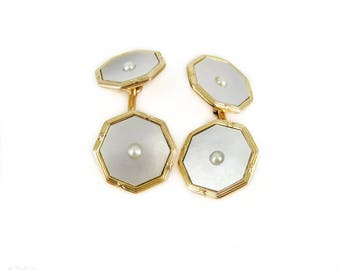 Men's Vintage 9ct Cuff Links, Reeded Design Yellow Gold Mother of Pearl & Split Pearl Octagonal Shape Cufflinks.