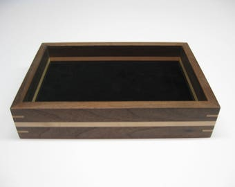 Wood Valet Tray, Valet Box made from Black Walnut with Maple splines and stripe  #203