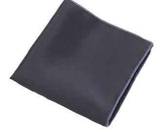 Dark Grey Pocket Square.Silk Pocket Square.Mens Handkerchief.