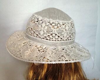 Summer hat womens hat linen cotton hat lace hats for women sun hat