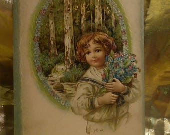 Vintage Postcard of beautiful young girl bring you an armful of flowers and Best Wishes.  1908