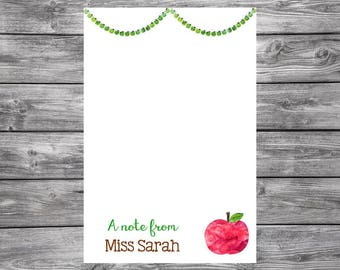 Apples- 4x6 Personalized Teacher Notepad- Personalized Teacher Gifts