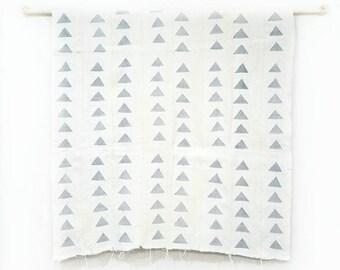 Mudcloth fabric throw, grey triangle on cream mudcloth, mudcloth throw, mudcloth fabric, african mudcloth