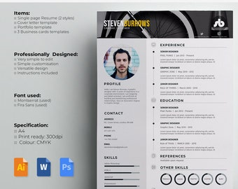 "Resume / CV Template and Cover Letter + Portfolio page. Templates for Word/PSD/AI files | ""Picked"" 