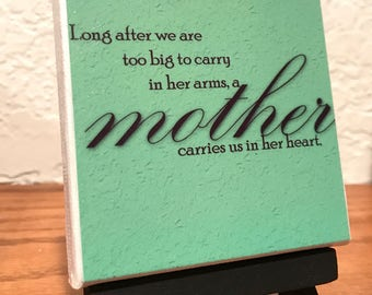 Mother Saying on 3x3 Mini Canvas with Easel