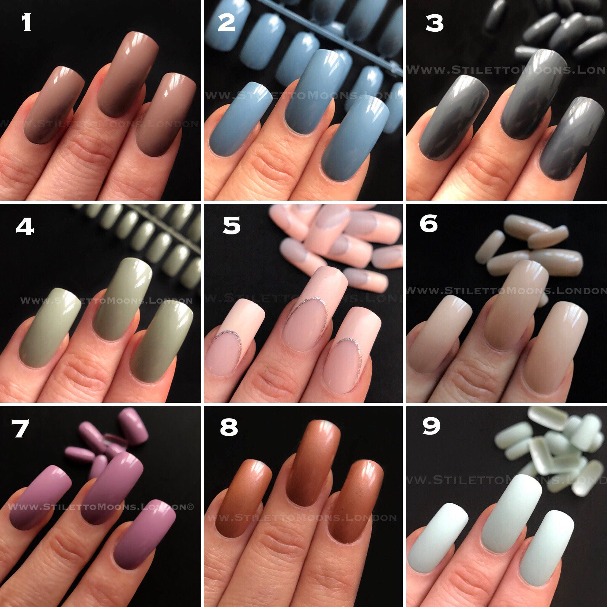 5 SET OFFER long curve false nail sets 24pcs