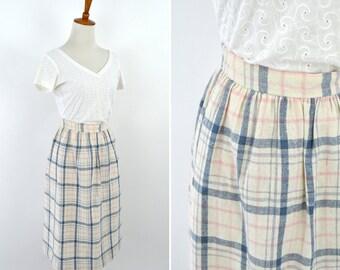 Vintage 1980's Light Blue Pink Plaid High Waist  Classic Chic Midi Skirt - A-line Mori Girl Pleated Skirt - Size Medium