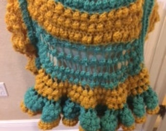Crochet Cape with Button