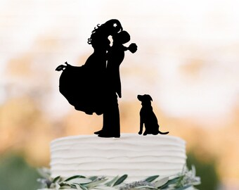 Funny Wedding Cake topper with dog,  groom kissing bride silhouette cake topper. unique wedding cake topper, topper with pet
