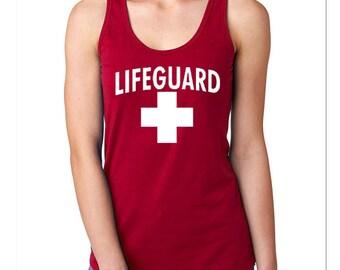Lifeguard Woman TANK TOP WHITE Logo Beach Tee Tank Top California Beaches S.O.S. Life Guard Sos
