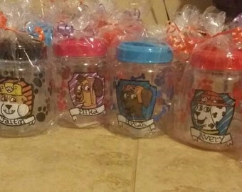 Custom Paw Patrol Containers, Paw Patrol Party Favors, Any animal themed conatiners can be made