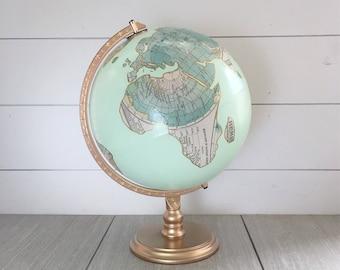 "Globe, Guestbook Globe, World Globe, Custom Map Decoupage & Mint Hand Painted with Quote 12"" diameter World Globe  - Metallic Accenting"