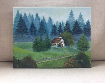 Old church painting, church painting, church in the clearing, scenery, landscape