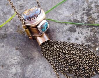 Brass poison box necklace   Turquoise   stash box necklace   Boho necklace   Dino bone stone pendant   tassel necklace   Unisex necklace