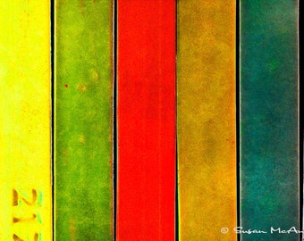 Abstract Art Print, Abstract Vertical Bars, Yellow, Green, Red, Brown, Teal, Blue, Modern Color Photograph Print, 16x24, Large Print